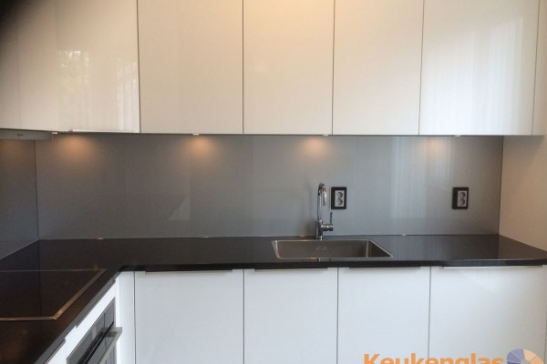 Lichtgrijs metallic keuken achterwand RAL 9006