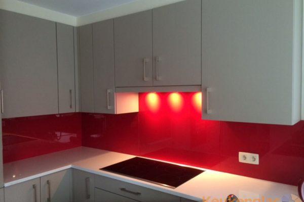 Rode keuken achterwand Belsele Belgie