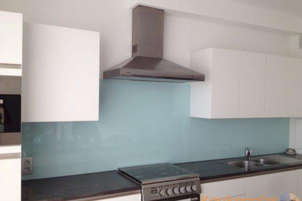 Glazen keukenwand blauw Belgie